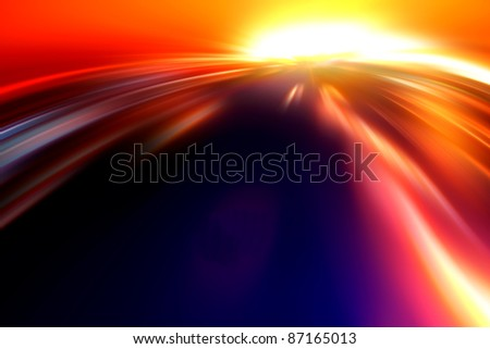 Fast and the Furious. Flight at sunset. - stock photo
