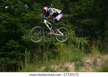 fast bike jump - stock photo