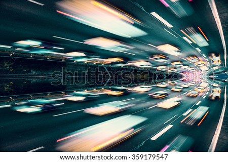 Fast cars on highway abstract - stock photo