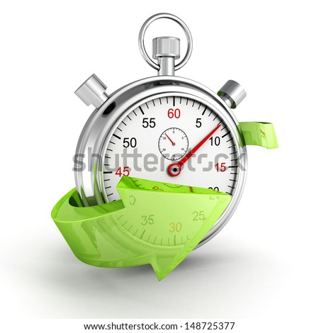 Fast delivery icon. Stopwatch with green arrow on a white background - stock photo