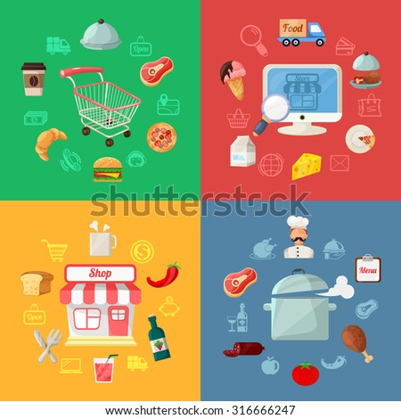 Fast food and pizza delivery, online order flat Illustrations set. Flat design concepts illustrations and flat icons for web banners, web sites, printed materials, infographics. Creative illustration - stock photo