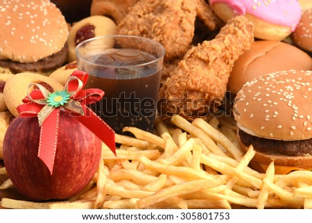 Fast food burger French fried and drink in restaurant  - stock photo