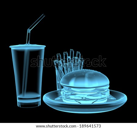 Fast food burger x-ray blue transparent isolated on black - stock photo