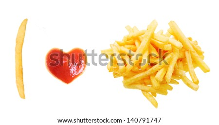 Fast food concept. French fries and ketchup heart isolated on white background. - stock photo