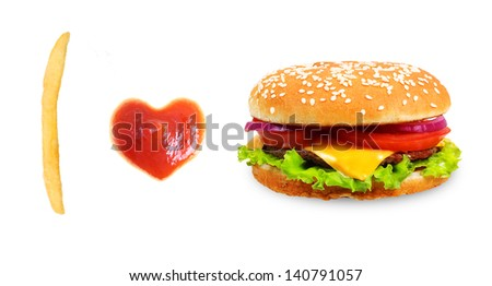 Fast food concept. French fries,burger and ketchup heart isolated on white background. - stock photo