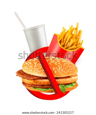 Fast food danger label - stock photo
