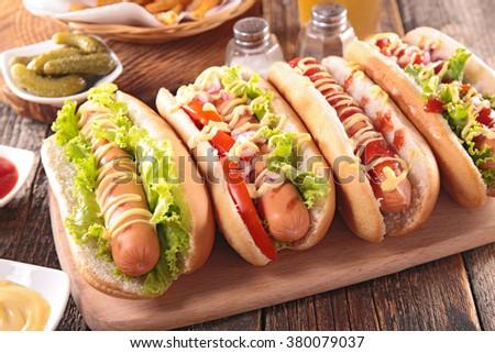 fast food, hot dog - stock photo