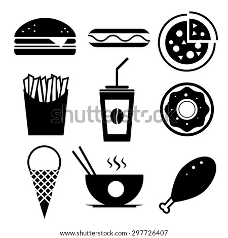Fast food icon set. Burger, ice cream, coffee, chinese food, hotdog, donut, pizza, fried chicken, french fries. - stock photo