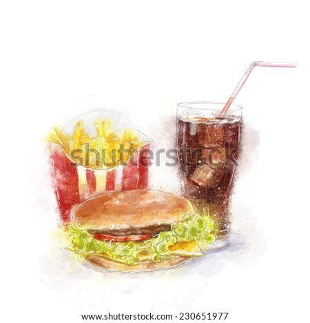 Fast food menu.Big hamburger, ice cola and French fries.Food illustration for menu, cafe, restaurant - stock photo