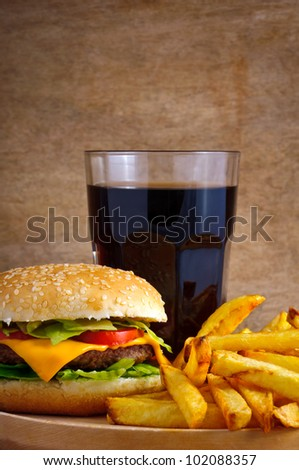 fast food menu with hamburger, french fries and glass of cola - stock photo