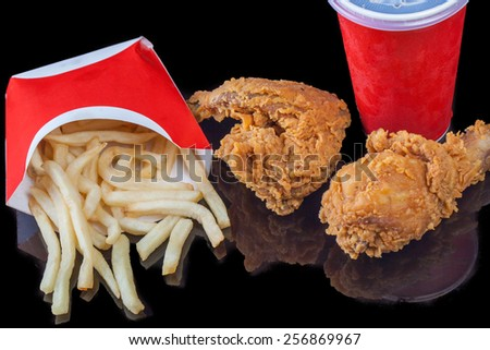Fast Food package, french fries chicken soft drink - stock photo