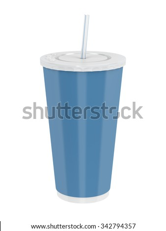 Fast food paper cup with straw isolated on white - stock photo