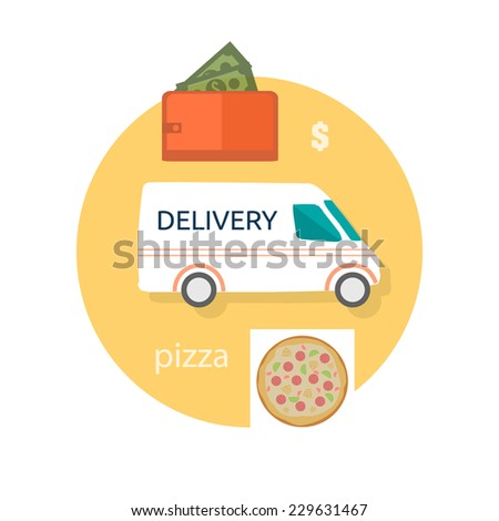 Fast food pizza delivery perfect service fresh ingredients online order purse with money decorative icons in flat design. Raster version - stock photo
