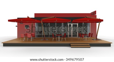 Fast food restaurant on white background.3d render - stock photo