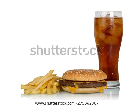 Fast food set of a burger, french fries and cola on white background - stock photo