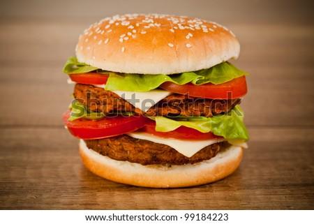 Fast food tasty hamburger - stock photo