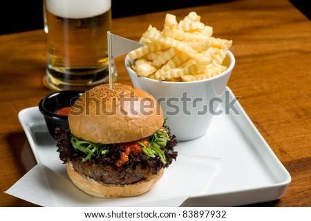 Fast food with beer - stock photo