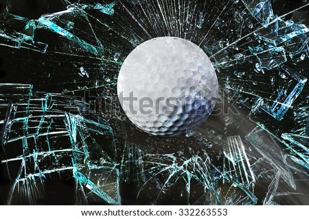 Fast golf ball through broken window. - stock photo