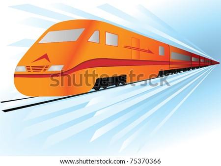 Fast, high speed train - stock photo