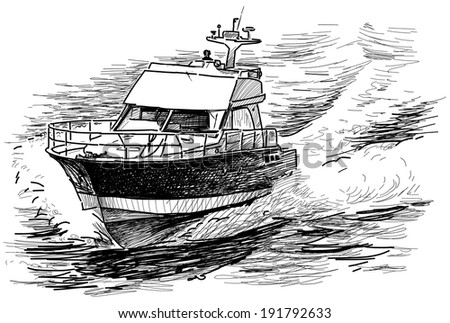 fast motorboat - stock photo