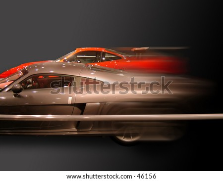 fast moving cars - stock photo