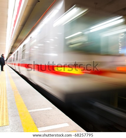 Fast moving train - stock photo