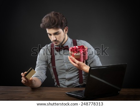 Fast online gift shopping, concept - stock photo