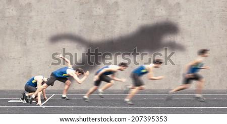 Fast racing start - stock photo