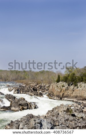 Fast river current. Nature energy. River energy. Rocks and river waves. Spring time background. Waterfalls, steps - stock photo