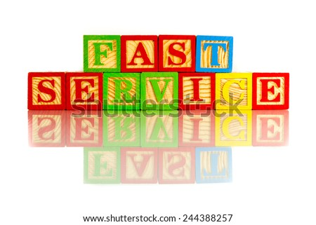 fast service words reflection on white background - stock photo