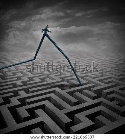Fast track business concept as a businessperson walking over a maze or labyrinth with the advantage of long legs as a metaphor and symbol to excell and rise above an obstacle and to adapt. - stock photo
