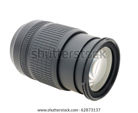 Fast zoom lens isolated - stock photo