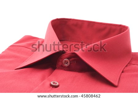 fastened red shirt on a white background - stock photo