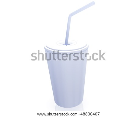 Fastfood cup illustration glossy metal style isolated - stock photo