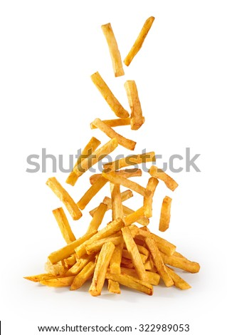 Fastfood. Flying fried potatoes isolated on white background. French fries. - stock photo