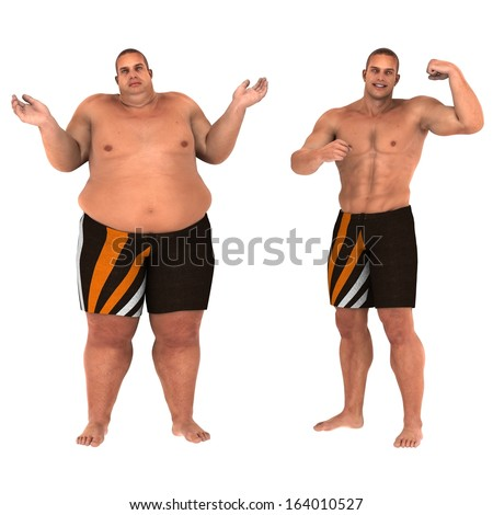 Fat and slim man opposite each other on white background - before and after diet [see an animation of this in my video section] - stock photo