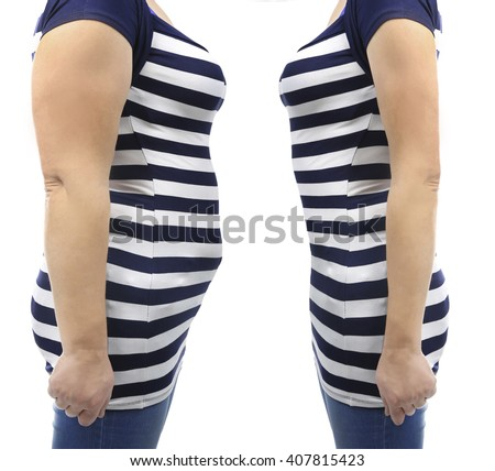 Fat and slim woman's body - stock photo
