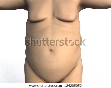 Fat belly on a white background - stock photo