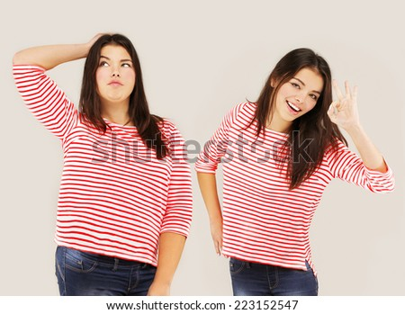 Fat girl standing near thin girl..Concept-weight loss - stock photo