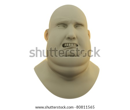 fat guy sad emotion bust isolated over white - stock photo