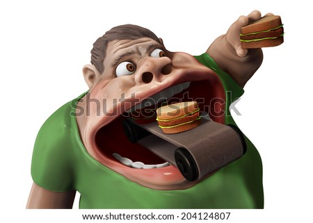 Fat hungry man eating hamburgers with food transporter 3d illustration isolated on white. - stock photo