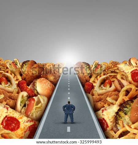 Fat lifestyle escape and dieting solutions and overweight diet advice concept as an obese man walking on a road between a heap of greasy junk food as a metaphor for unhealthy food risk. - stock photo