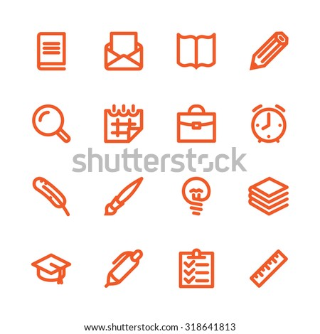 Fat Line Icon set for web and mobile. Modern minimalistic flat design elements of learning and education, school supplies - stock photo