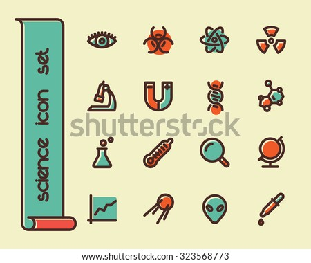Fat Line Icon set for web and mobile. Modern minimalistic flat design elements of scientific equipment, biotechnology, genome testing, physical and chemistry materials research - stock photo