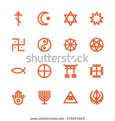 Fat Line Icon set for web and mobile. Modern minimalistic flat design elements of world religious symbols - stock photo