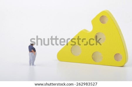 fat man and a slice of cheese - stock photo
