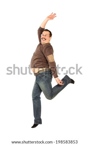 Fat man Jumping high, isolated on white - stock photo