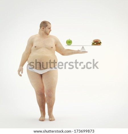 Fat man keep  scale with an apple and hamburger. Concept for healthy eating. - stock photo