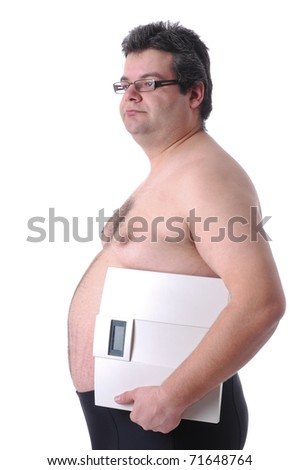 Fat man preparing to workout, with scale - stock photo