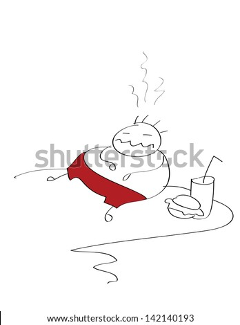 fat man who ate too much - stock photo
